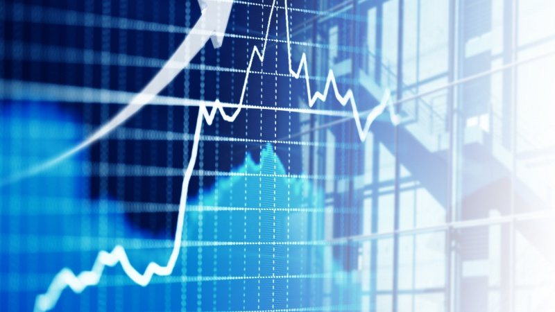 Stock market trends graph