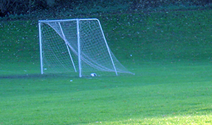 Soccer net as snow is falling in field at Carling Avenue and March Road