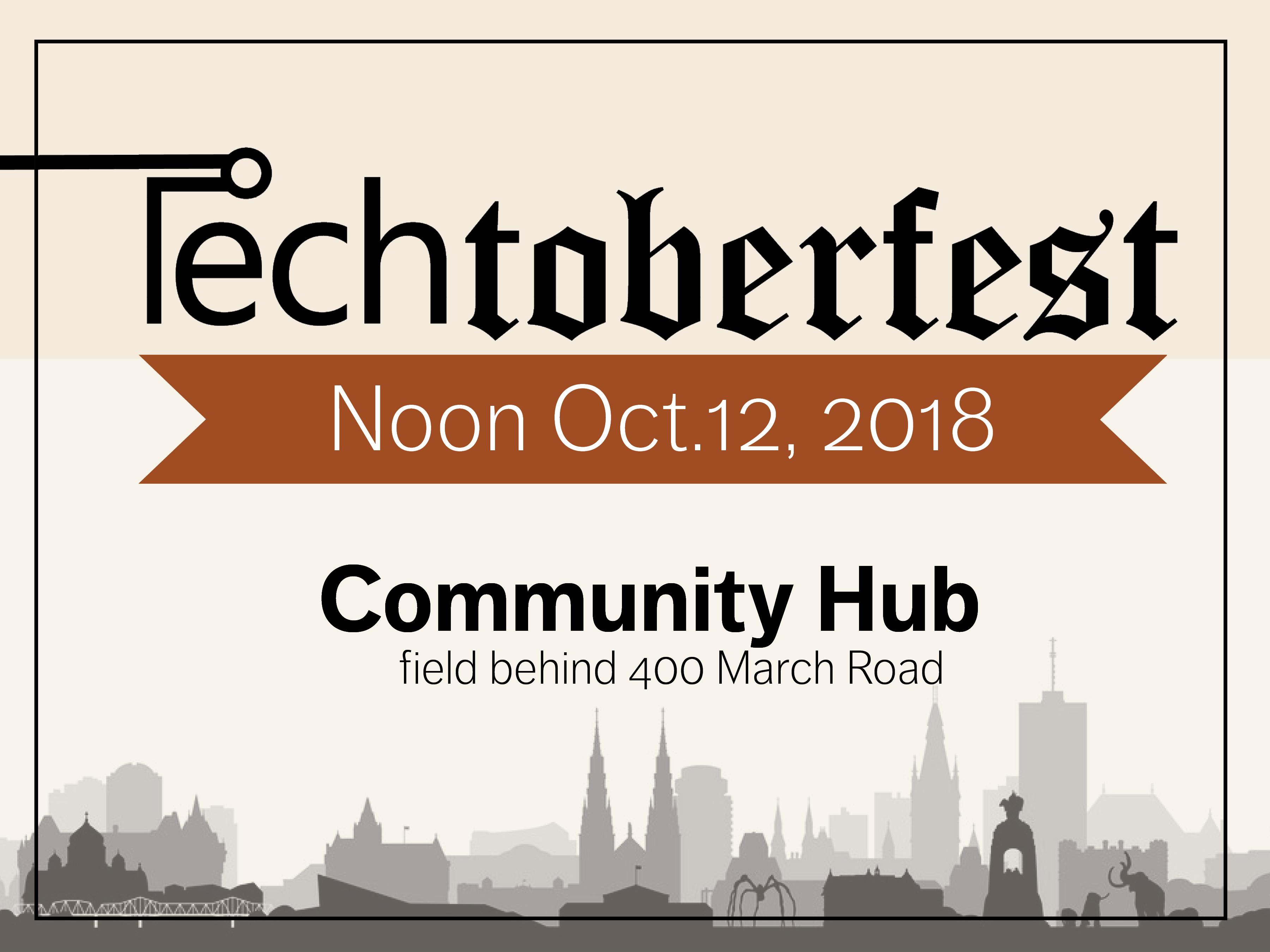 Poster Techtoberfest,City Silhouette along bottom