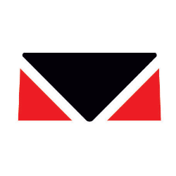 Black and red logo in shape of envelope